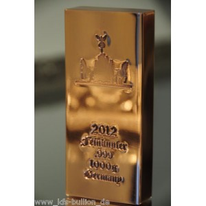 1 kg Kupferbarren 999 fein copper kupfer 1 X 1000 gr. NEU Brandenburger Tor