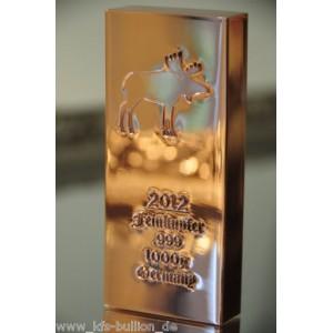 1 kg Kupferbarren 999 fein copper kupfer 1 X 1000 gr. NEU Elch 2012