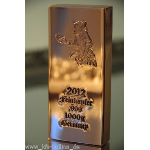 1 kg Kupferbarren 999 fein copper 1 X 1000 gr. NEU Keltischer Bergmann 2012